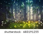 forest trees  wood glade  ... | Shutterstock . vector #683191255