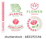 set flowers logo   ... | Shutterstock . vector #683192146