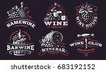 wine set logo    illustrations  ... | Shutterstock . vector #683192152