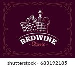 bottle of wine and grapes logo  ... | Shutterstock . vector #683192185