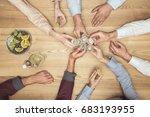 top view of friends hands with... | Shutterstock . vector #683193955