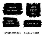 grunge set of black paint  ink... | Shutterstock .eps vector #683197585