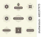 luxury logos templates set ...   Shutterstock .eps vector #683197975