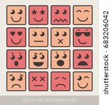 set of graphic emoticons.... | Shutterstock .eps vector #683206042