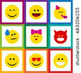 flat icon emoji set of pouting  ... | Shutterstock .eps vector #683206255