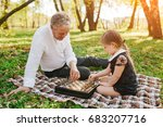 mature man sitting on plaid in... | Shutterstock . vector #683207716