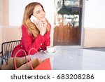 portrait beautiful young woman... | Shutterstock . vector #683208286