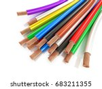 multicolored wires on a white... | Shutterstock . vector #683211355