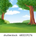cozy green lawn under a shady... | Shutterstock .eps vector #683219176