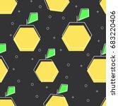 flat line apple pattern vector | Shutterstock .eps vector #683220406
