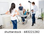 group of four photographer... | Shutterstock . vector #683221282