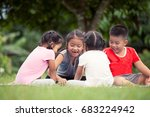 happy children playing and... | Shutterstock . vector #683224942