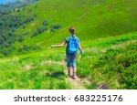 woman  back view  walking on...   Shutterstock . vector #683225176