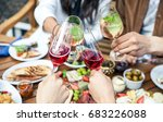 hands with glasses of wine and... | Shutterstock . vector #683226088