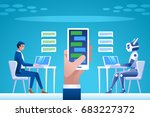 chatbot concept. man chatting...   Shutterstock .eps vector #683227372