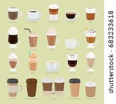 set of coffee types and... | Shutterstock . vector #683233618