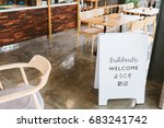 welcome sign on cafe with  thai ... | Shutterstock . vector #683241742