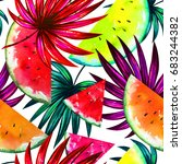 natural pattern with tropical... | Shutterstock . vector #683244382
