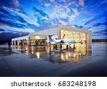 small white private jet on wet... | Shutterstock . vector #683248198