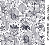 vector floral seamless pattern...   Shutterstock .eps vector #683248228
