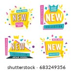sale banners. bright and retro... | Shutterstock .eps vector #683249356