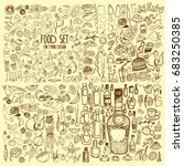 hand drawn food elements. set... | Shutterstock .eps vector #683250385