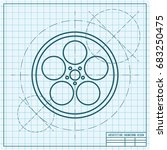 vector blueprint retro bobbin... | Shutterstock .eps vector #683250475