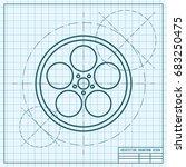 vector blueprint retro bobbin...   Shutterstock .eps vector #683250475