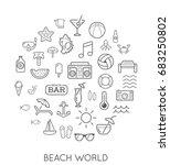 raster set of beach modern flat ... | Shutterstock . vector #683250802