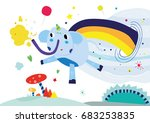 cute elephant vector editable... | Shutterstock .eps vector #683253835