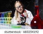 small girl working in... | Shutterstock . vector #683254192