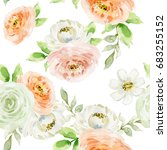 watercolor floral seamless... | Shutterstock . vector #683255152