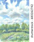 summer meadow landscape... | Shutterstock . vector #683262742
