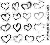 hand drawn hearts set | Shutterstock .eps vector #683264266