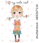 hand drawn beautiful  cute ... | Shutterstock .eps vector #683267116