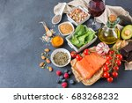 balanced diet food concept.... | Shutterstock . vector #683268232