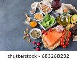balanced diet food concept.... | Shutterstock . vector #683268232