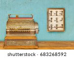 cash register and cabinet with... | Shutterstock . vector #683268592