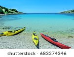 canoe boats on a bay of ... | Shutterstock . vector #683274346