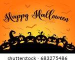 happy halloween pumpkins | Shutterstock .eps vector #683275486