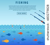 fishing banner. three abandoned ... | Shutterstock .eps vector #683275828