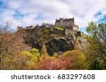 edinburgh castle in spring... | Shutterstock . vector #683297608