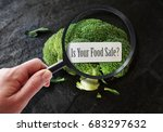 hand with magnifying glass... | Shutterstock . vector #683297632