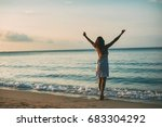 woman enjoying freedom by the... | Shutterstock . vector #683304292