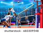 female professional volleyball... | Shutterstock . vector #683309548