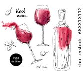 hand drawn ink sketch of wine... | Shutterstock .eps vector #683313112