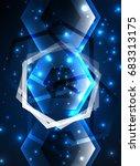 techno glowing glass hexagons... | Shutterstock .eps vector #683313175