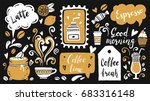set of coffee time elements...   Shutterstock .eps vector #683316148