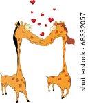 love and giraffes | Shutterstock .eps vector #68332057