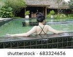 back side of sexy woman enjoy... | Shutterstock . vector #683324656